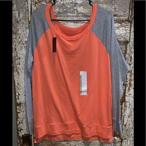 The limited coral/orange and grey long sleeve top